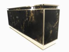 Maison Jansen Rare golden lacquer and brass Maison Jansen sideboard 1970s - 1054910