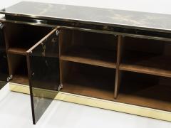 Maison Jansen Rare golden lacquer and brass Maison Jansen sideboard 1970s - 1054912