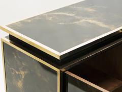 Maison Jansen Rare golden lacquer and brass Maison Jansen sideboard 1970s - 1054913