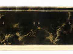 Maison Jansen Rare golden lacquer and brass Maison Jansen sideboard 1970s - 1054915