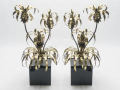 Maison Jansen Rare pair of Hollywood Regency brass Maison Jansen Pineapple floor lamps 1970s - 995962