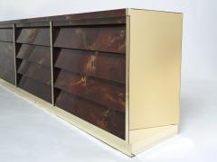 Maison Jansen Unique golden lacquer brass Maison Jansen sideboard commode 1970s - 1957749