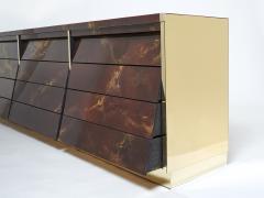 Maison Jansen Unique golden lacquer brass Maison Jansen sideboard commode 1970s - 1957751