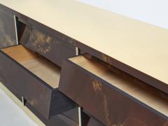 Maison Jansen Unique golden lacquer brass Maison Jansen sideboard commode 1970s - 1957754