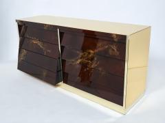 Maison Jansen Unique golden lacquer brass Maison Jansen sideboard commode 1970s - 1957759