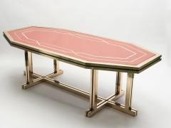 Maison Jansen Unique red lacquer and brass Maison Jansen dining table 1970s - 997134