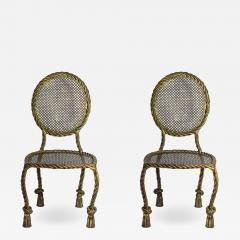 Maison Ramsay Maison Ramsay Pair of Chairs Golden Iron circa 1930 France - 1221832