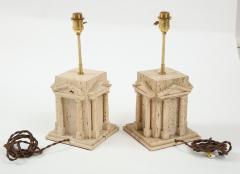 Maison Romeo Pair of travertine Roman temple shaped table lamps France 1970s - 1740004