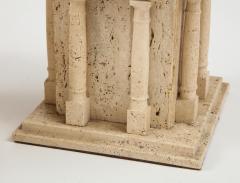 Maison Romeo Pair of travertine Roman temple shaped table lamps France 1970s - 1740005