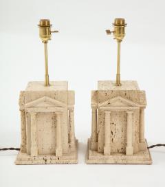 Maison Romeo Pair of travertine Roman temple shaped table lamps France 1970s - 1740006
