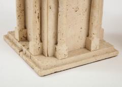 Maison Romeo Pair of travertine Roman temple shaped table lamps France 1970s - 1740007