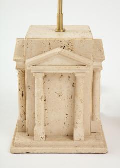 Maison Romeo Pair of travertine Roman temple shaped table lamps France 1970s - 1740008