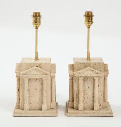 Maison Romeo Pair of travertine Roman temple shaped table lamps France 1970s - 1740009