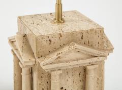 Maison Romeo Pair of travertine Roman temple shaped table lamps France 1970s - 1740011