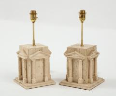 Maison Romeo Pair of travertine Roman temple shaped table lamps France 1970s - 1740012