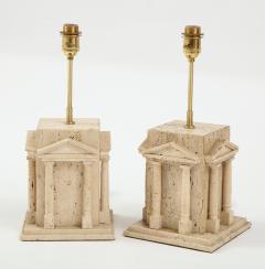 Maison Romeo Pair of travertine Roman temple shaped table lamps France 1970s - 1740013