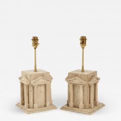 Maison Romeo Pair of travertine Roman temple shaped table lamps France 1970s - 1741225