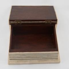 Maitland Smith 1980s Maitland Smith Book Shaped Box Clad in Tesselated Stone with Brass Trim - 565341