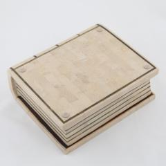 Maitland Smith 1980s Maitland Smith Book Shaped Box Clad in Tesselated Stone with Brass Trim - 565342
