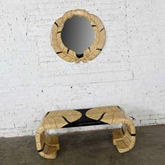 Maitland Smith Art deco revival tessellated marble low console table mirror - 2066134