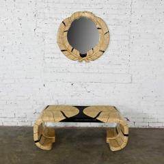 Maitland Smith Art deco revival tessellated marble low console table mirror - 2066150