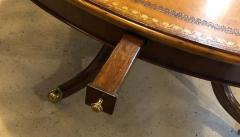 Maitland Smith Georgian Style Maitland Smith Circular Tooled Leather Top Dining Centre Table - 1254401