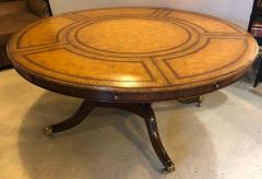 Maitland Smith Georgian Style Maitland Smith Circular Tooled Leather Top Dining Centre Table - 1254402