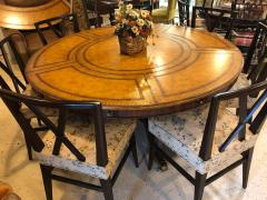 Maitland Smith Georgian Style Maitland Smith Circular Tooled Leather Top Dining Centre Table - 1254407
