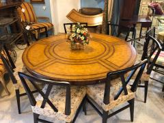 Maitland Smith Georgian Style Maitland Smith Circular Tooled Leather Top Dining Centre Table - 1254409