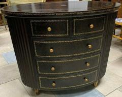 Maitland Smith Maitland Smith Embossed Oval Chest of Drawers with Tooled Leather - 1144402