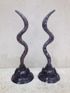Maitland Smith Pair of Fossil Stone Marcius for Casa Bique Antler Sculptures - 1823792
