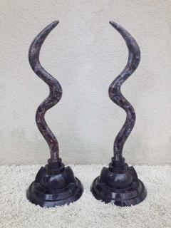 Maitland Smith Pair of Fossil Stone Marcius for Casa Bique Antler Sculptures - 1823793
