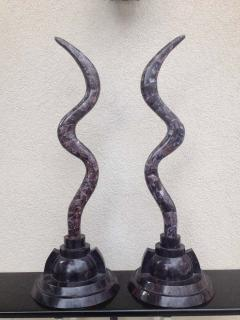 Maitland Smith Pair of Fossil Stone Marcius for Casa Bique Antler Sculptures - 1823794