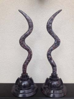 Maitland Smith Pair of Fossil Stone Marcius for Casa Bique Antler Sculptures - 1823798
