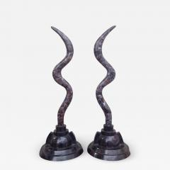Maitland Smith Pair of Fossil Stone Marcius for Casa Bique Antler Sculptures - 1825688