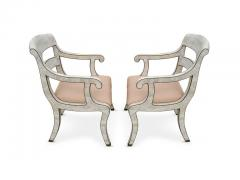 Maitland Smith Pair of Maitland Smith Tessellated Marble Bronze Inlay Armchairs - 1505072
