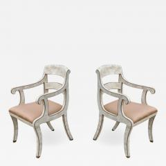 Maitland Smith Pair of Maitland Smith Tessellated Marble Bronze Inlay Armchairs - 1509139