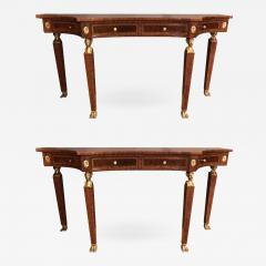 Maitland Smith Pair of Russian Neoclassical Style Flame Mahogany Console or Sofa Tables - 1302411