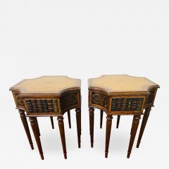 Maitland Smith Regency Style Maitland Smith Mahogany and Leather Library Book Table a Pair - 1590726