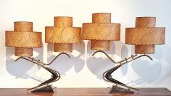 Majestic Lamp company 1950s BOOMERANG TABLE LAMPS WITH TRIPLE LEVEL FIBERGLASS SHADES PAIR  - 2133801