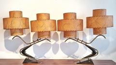 Majestic Lamp company 1950s BOOMERANG TABLE LAMPS WITH TRIPLE LEVEL FIBERGLASS SHADES PAIR  - 2133802