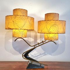 Majestic Lamp company 1950s BOOMERANG TABLE LAMPS WITH TRIPLE LEVEL FIBERGLASS SHADES PAIR  - 2133803