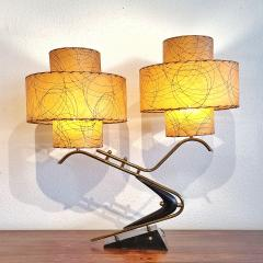 Majestic Lamp company 1950s BOOMERANG TABLE LAMPS WITH TRIPLE LEVEL FIBERGLASS SHADES PAIR  - 2133805