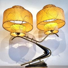 Majestic Lamp company 1950s BOOMERANG TABLE LAMPS WITH TRIPLE LEVEL FIBERGLASS SHADES PAIR  - 2133809