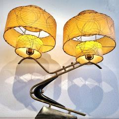 Majestic Lamp company 1950s BOOMERANG TABLE LAMPS WITH TRIPLE LEVEL FIBERGLASS SHADES PAIR  - 2133810
