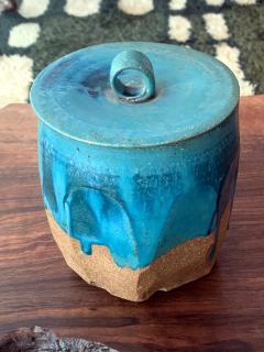 Makoto Yabe Ceramic pot with lid Japanese Mizusashi by Makoto Yabe - 1074661