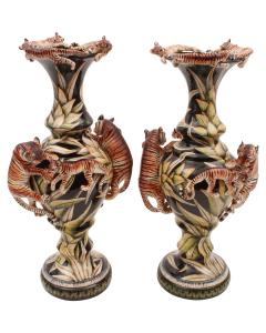Mandla Enkosi Ngwenya Tiger Vases Pair - 1626136
