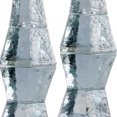 Mantorp Glasbruk Pair of Brutalist table lamps in textured and cast crystal by Mantorp Glasbruk - 1165686
