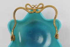 Manufacture de Bercy A Blue Opaline Little Basket in with Mercury Gilt Serpent Mounts - 102932