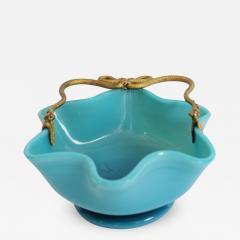 Manufacture de Bercy A Blue Opaline Little Basket in with Mercury Gilt Serpent Mounts - 391570